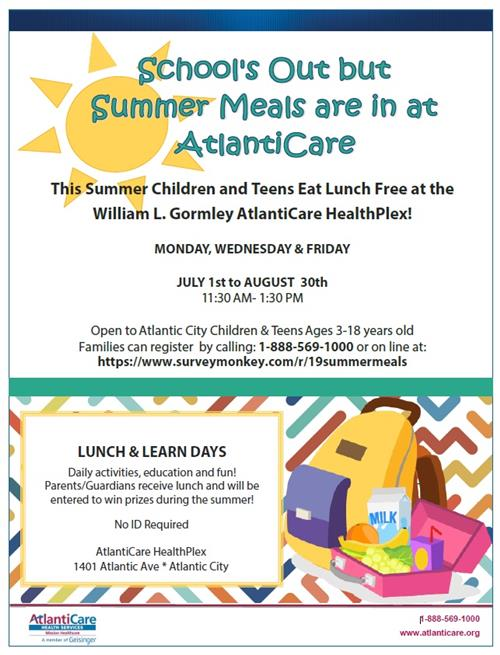 Atlanticare Free Summer Meals
